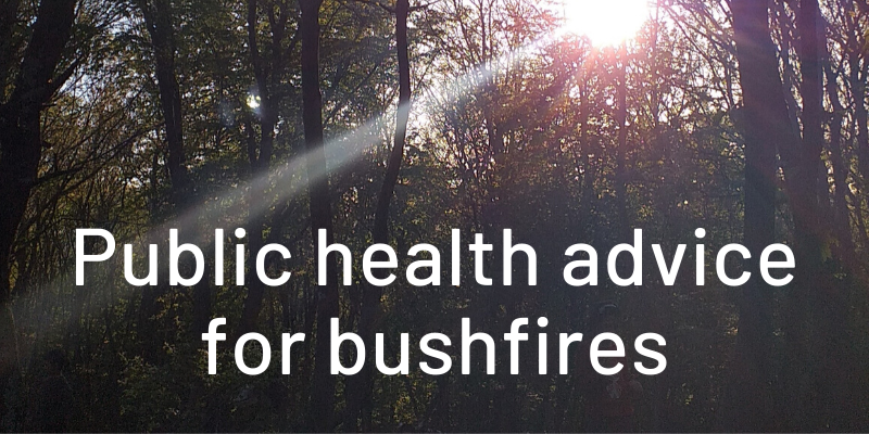 Tree background image with the words Public health advice for bushfires