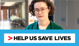 Female clinician above the words Help us save lives