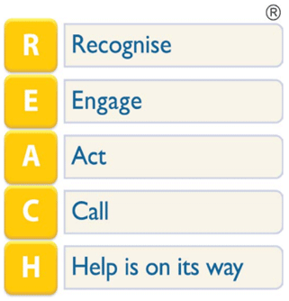 REACH acronym - R is for Recognise, E is for Engage, A is for Act, C is for call and H is for help is on the way.