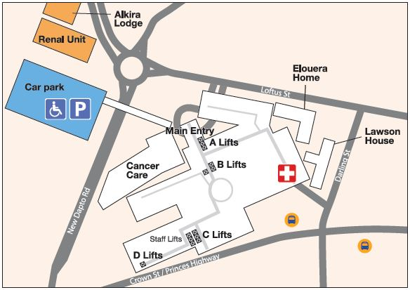 Wollongong Hospital map