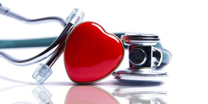 stethoscope and red love heart