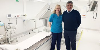 Professor Barry Elison and Jenny Calcott with the Gamma Camera