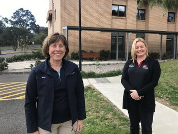 Illawarra Shoalhaven Local Health District's (ISLHD) Disaster Manager Monica Dale and a member of the Shellharbour Hospital COVID-19 Assessment Clinic Team